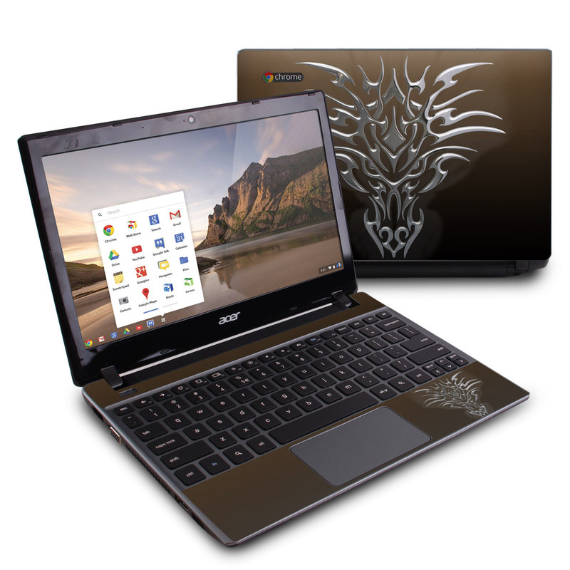 Acer C7 Chromebook Skin design of Illustration, Graphics with black, green, red, gray colors
