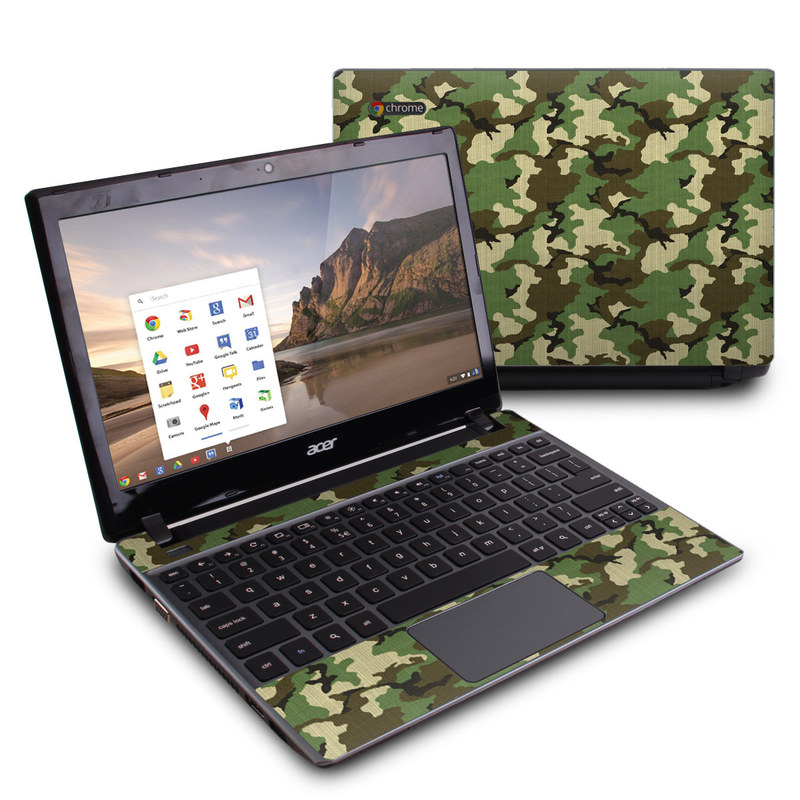 Acer C7 Chromebook Skin design of Military camouflage, Camouflage, Clothing, Pattern, Green, Uniform, Military uniform, Design, Sportswear, Plane with black, gray, green colors