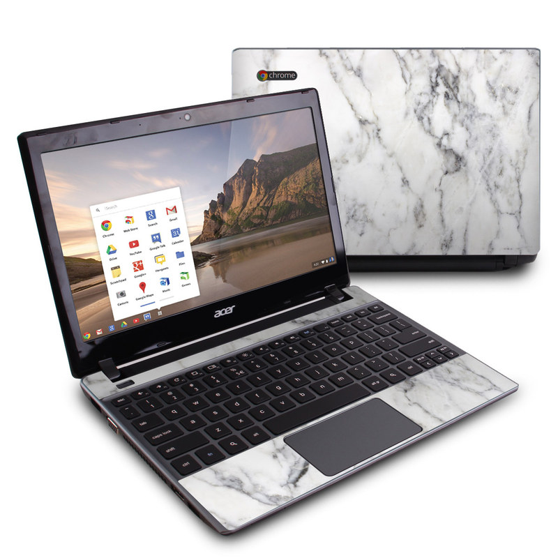 Acer C7 Chromebook Skin design of White, Geological phenomenon, Marble, Black-and-white, Freezing with white, black, gray colors