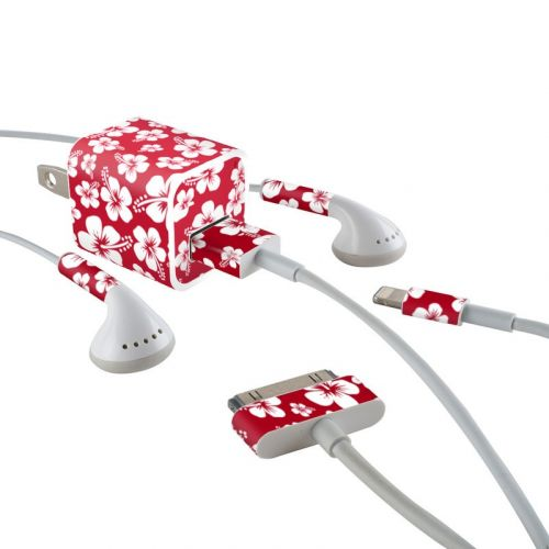 Aloha Red iPhone Earphone, Power Adapter, Cable Skin