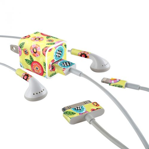 Button Flowers iPhone Earphone, Power Adapter, Cable Skin