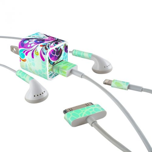 Butterfly Glass iPhone Earphone, Power Adapter, Cable Skin