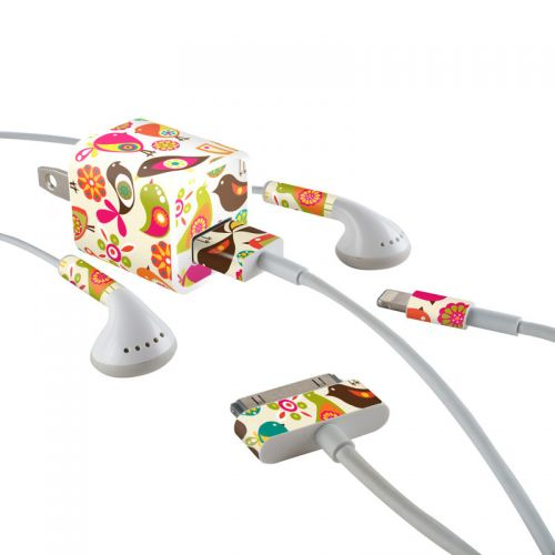Bird Flowers iPhone Earphone, Power Adapter, Cable Skin