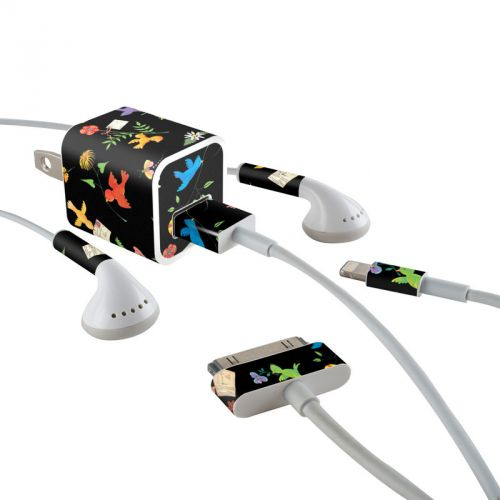 Birds iPhone Earphone, Power Adapter, Cable Skin