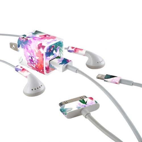 Blurred Flowers iPhone Earphone, Power Adapter, Cable Skin