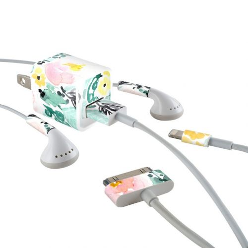 Blushed Flowers iPhone Earphone, Power Adapter, Cable Skin