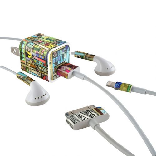 Bookshelf iPhone Earphone, Power Adapter, Cable Skin