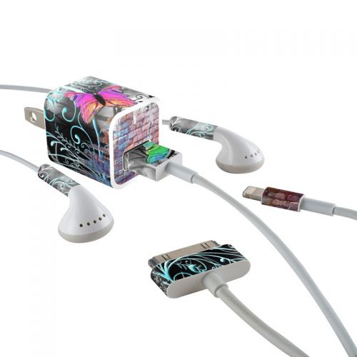 Butterfly Wall iPhone Earphone, Power Adapter, Cable Skin