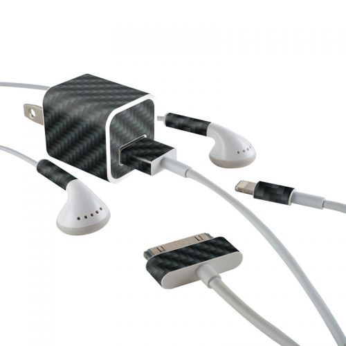 Carbon Fiber iPhone Earphone, Power Adapter, Cable Skin