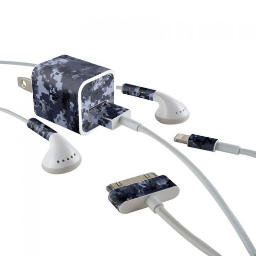 Digital Navy Camo iPhone Earphone, Power Adapter, Cable Skin