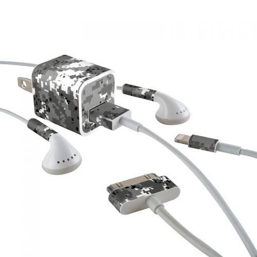 Digital Urban Camo iPhone Earphone, Power Adapter, Cable Skin