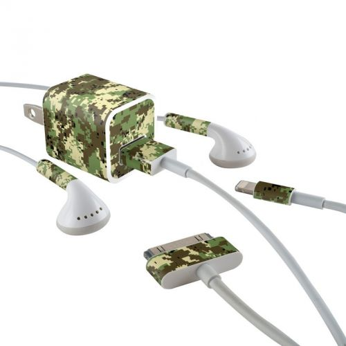 Digital Woodland Camo iPhone Earphone, Power Adapter, Cable Skin