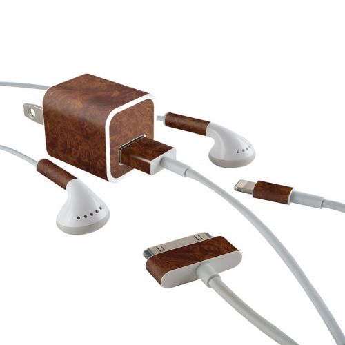 Dark Burlwood iPhone Earphone, Power Adapter, Cable Skin