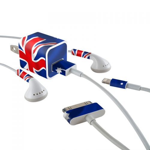 Down Under iPhone Earphone, Power Adapter, Cable Skin