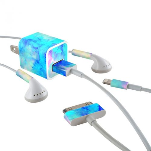 Electrify Ice Blue iPhone Earphone, Power Adapter, Cable Skin