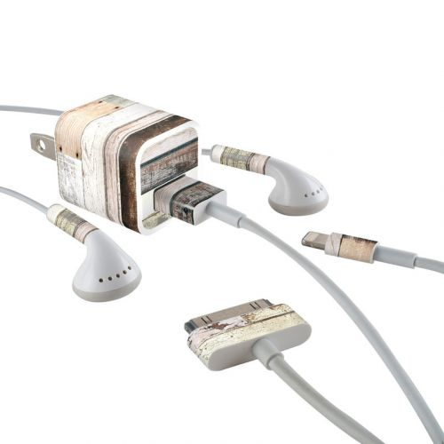 Eclectic Wood iPhone Earphone, Power Adapter, Cable Skin