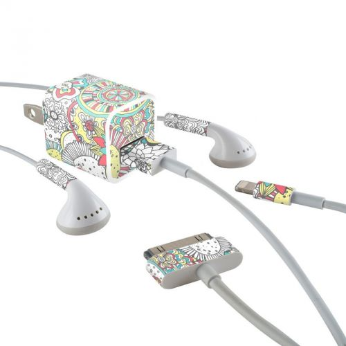 Faded Floral iPhone Earphone, Power Adapter, Cable Skin