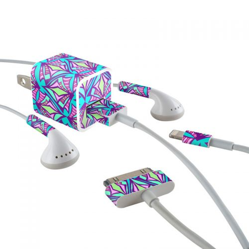 Fly Away Teal iPhone Earphone, Power Adapter, Cable Skin