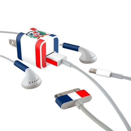 Dominican Republic Flag iPhone Earphone, Power Adapter, Cable Skin