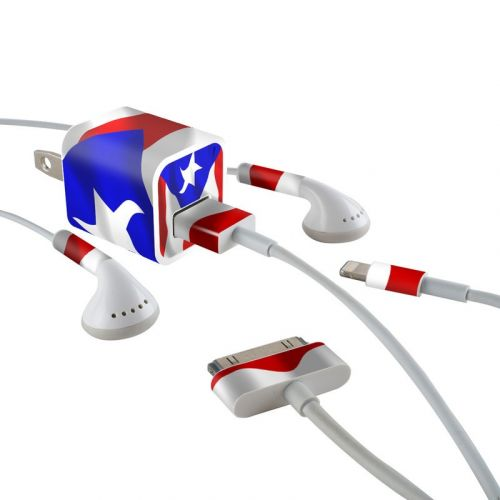 Puerto Rican Flag iPhone Earphone, Power Adapter, Cable Skin