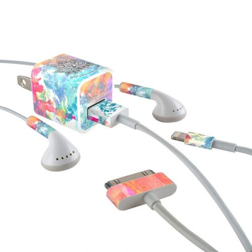 Happy Lotus iPhone Earphone, Power Adapter, Cable Skin