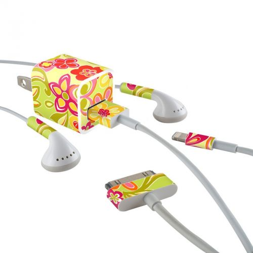 Hippie Flowers Hot Pink iPhone Earphone, Power Adapter, Cable Skin
