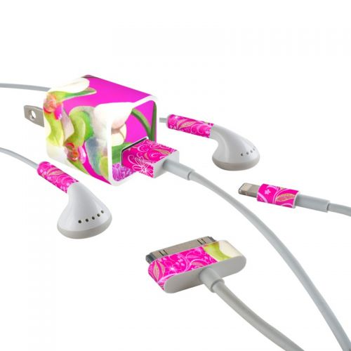 Hot Pink Pop iPhone Earphone, Power Adapter, Cable Skin