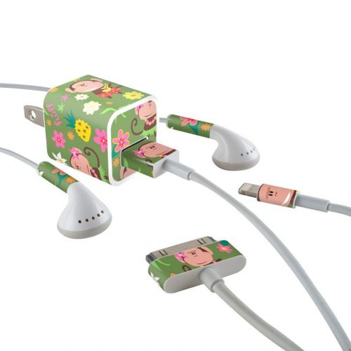 Hula Monkeys iPhone Earphone, Power Adapter, Cable Skin