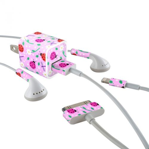 Ladybug Land iPhone Earphone, Power Adapter, Cable Skin