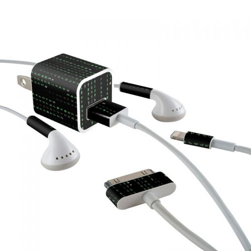 Matrix Style Code iPhone Earphone, Power Adapter, Cable Skin