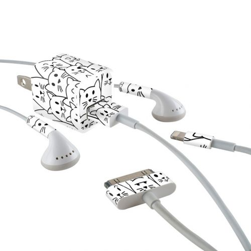 Moody Cats iPhone Earphone, Power Adapter, Cable Skin