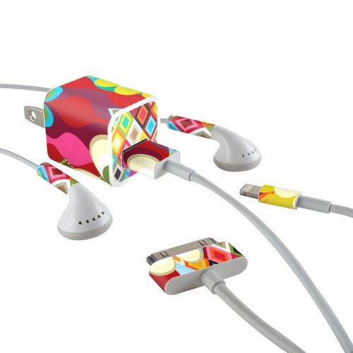 Mosaic iPhone Earphone, Power Adapter, Cable Skin