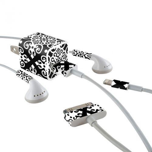 Noir iPhone Earphone, Power Adapter, Cable Skin