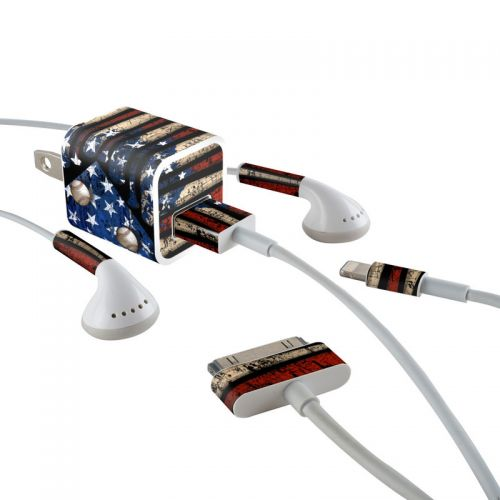 Old Glory iPhone Earphone, Power Adapter, Cable Skin