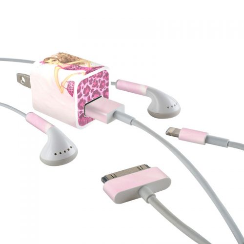 Perfectly Pink iPhone Earphone, Power Adapter, Cable Skin