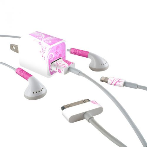 Pink Crush iPhone Earphone, Power Adapter, Cable Skin