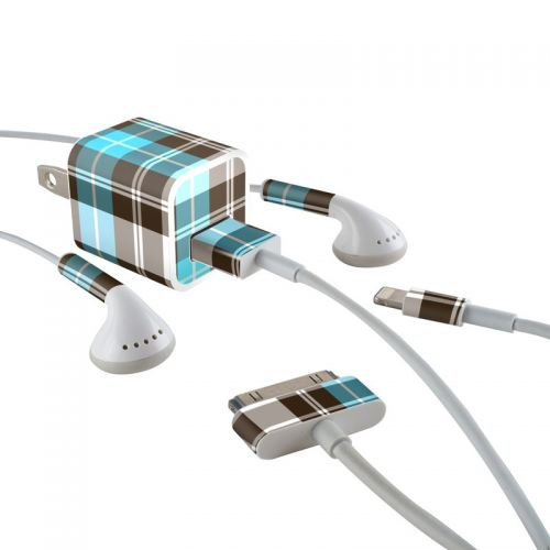 Turquoise Plaid iPhone Earphone, Power Adapter, Cable Skin