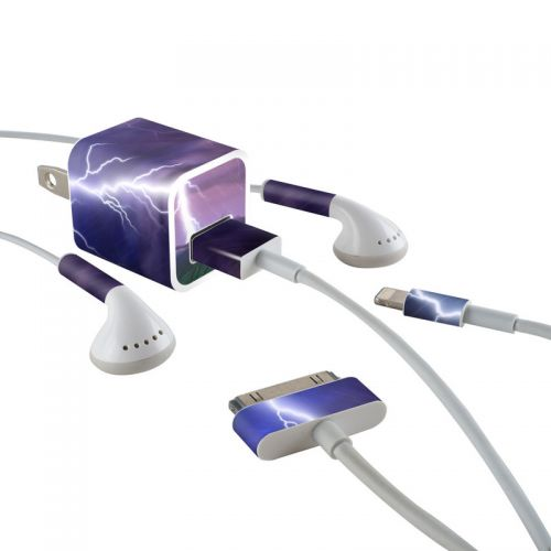 Purple Strike iPhone Earphone, Power Adapter, Cable Skin