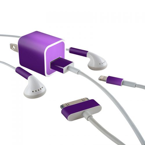 Purple Burst iPhone Earphone, Power Adapter, Cable Skin