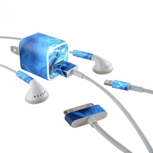 Blue Quantum Waves iPhone Earphone, Power Adapter, Cable Skin
