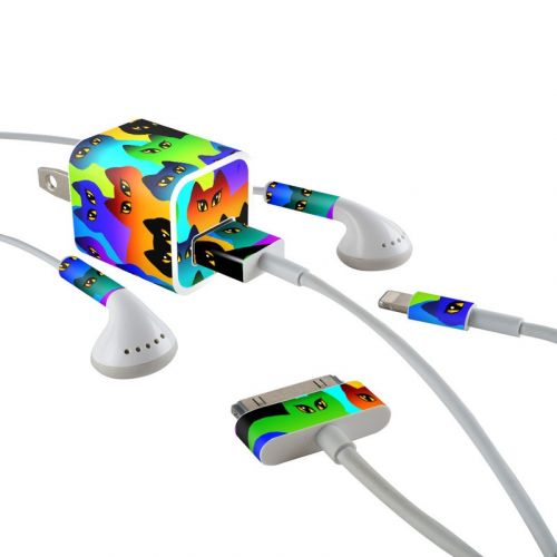 Rainbow Cats iPhone Earphone, Power Adapter, Cable Skin