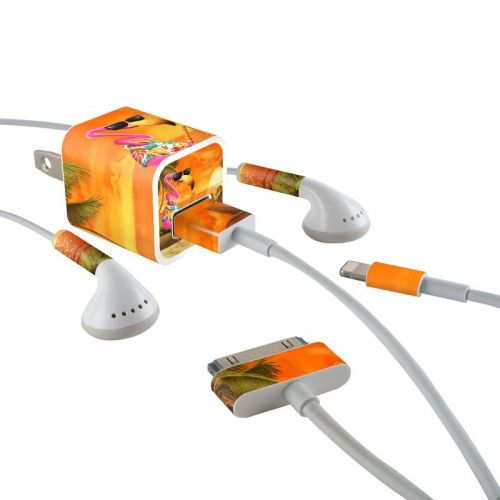 Sunset Flamingo iPhone Earphone, Power Adapter, Cable Skin