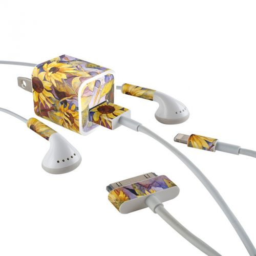 Sunflower iPhone Earphone, Power Adapter, Cable Skin