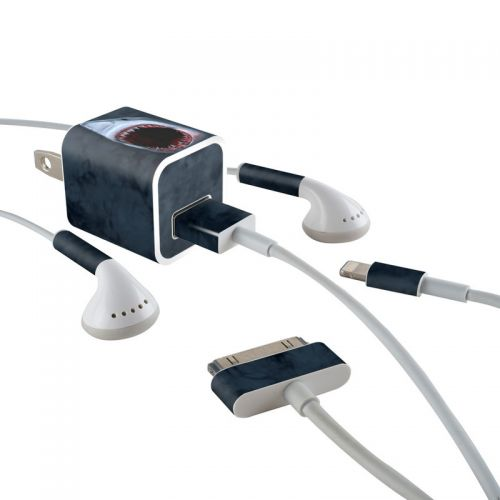Shark iPhone Earphone, Power Adapter, Cable Skin