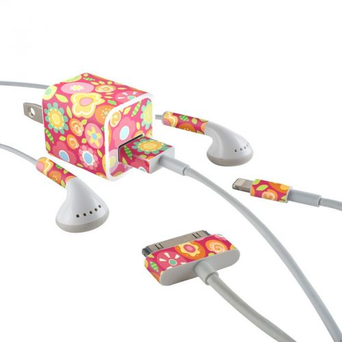 Flowers Squished iPhone Earphone, Power Adapter, Cable Skin