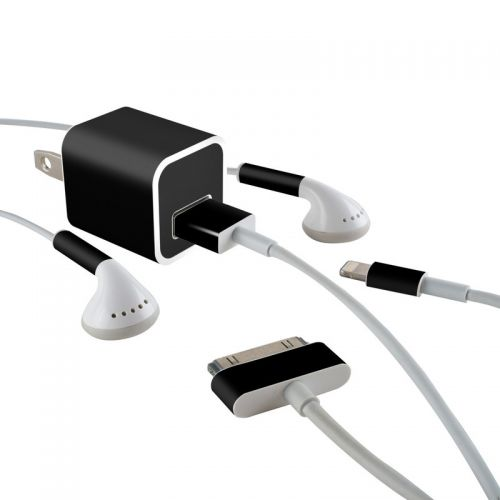 Solid State Black iPhone Earphone, Power Adapter, Cable Skin