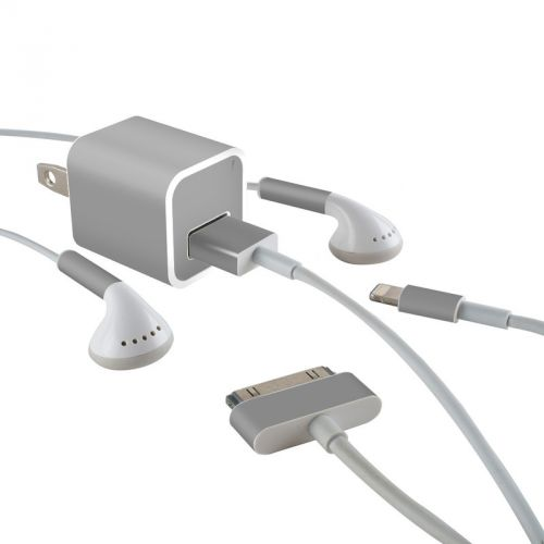 Solid State Grey iPhone Earphone, Power Adapter, Cable Skin
