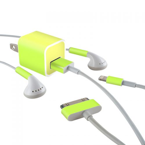 Solid State Lime iPhone Earphone, Power Adapter, Cable Skin