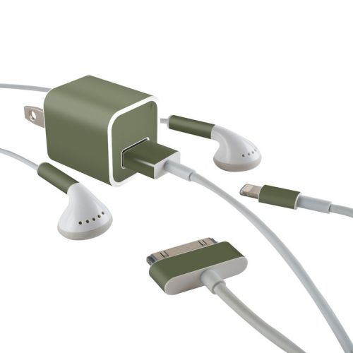 Solid State Olive Drab iPhone Earphone, Power Adapter, Cable Skin