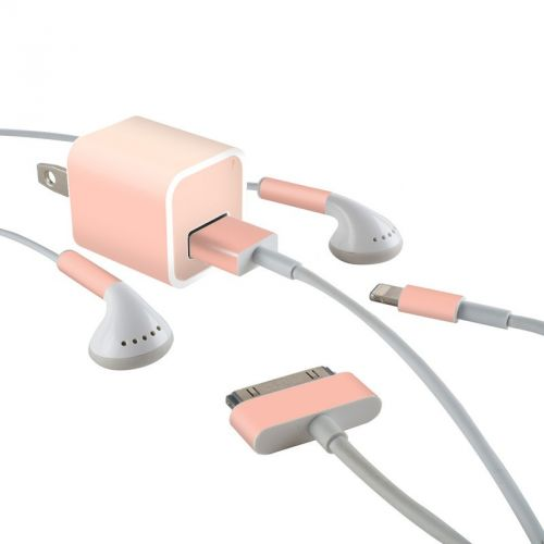 Solid State Peach iPhone Earphone, Power Adapter, Cable Skin